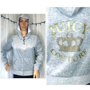 NWT Juicy Couture velour Zip Hoodie Couture Crown